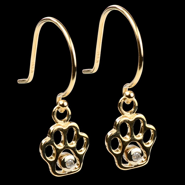 14k Gold Amp Diamond Paw Print Dangle Earrings 14ky Gold