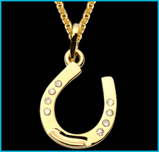 14k Gold & Diamond Horseshoe Pendant