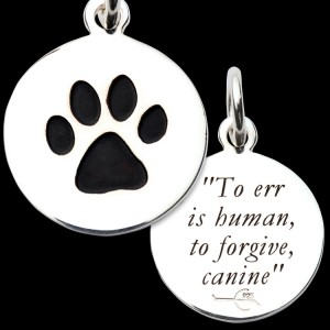 "Sterling Silver Paw Print ""To Err..."" Inscription Pendant"