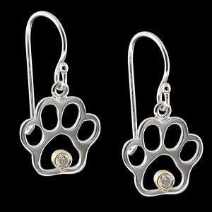 Sterling Silver Diamond Paw Print Earrings