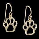 14KY Gold Paw Print Earrings