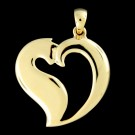 14K Gold Heart Cat Pendant