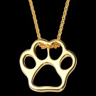 14KY Gold Paw Print Pendant on Chain