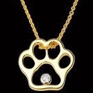 14K Gold & Diamond Paw Print Pendant on Chain