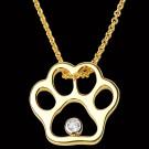 14K Gold & Diamond Paw Print Pendant on Chain