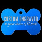 Bone Aluminum Pet Tag (Blue)