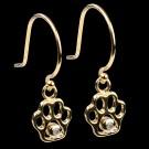 14K Diamond Gold Paw Earrings