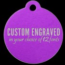 Round Aluminum Pet Tag (Purple)