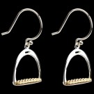 Sterling Silver & 14KY Gold English Stirrup Earrings on Dark