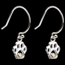 Sterling Silver & Diamond Paw Print Earrings on Dark