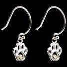 Sterling Silver & Diamond Paw Print Earrings on Dark