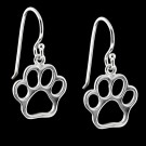 Silver Open Paw Print Earrings