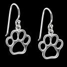 Silver Open Paw Print Earrings