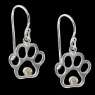 Sterling Silver & Diamond Paw Print Earrings