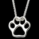 Sterling Silver Paw Print Pendant on Chain