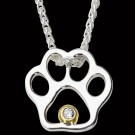 Sterling Silver & Diamond Paw Print Pendant on Chain
