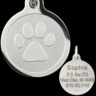 Paw Print Stainless Steel Designer Pet Tag