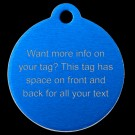 Round Aluminum Lots of Info Pet Tag (Blue)