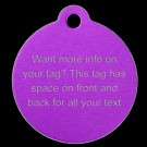 Round Aluminum Lots of Info Pet Tag (Purple)