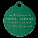 Round Aluminum Lots of Info Pet Tag (Green)
