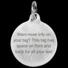 Round Titanium Lots of Info Pet Tag