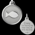 Tungsten Carbide Fish Pet Tag with Engraved Back Side