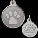 Paw Print Tungsten Carbide Tag