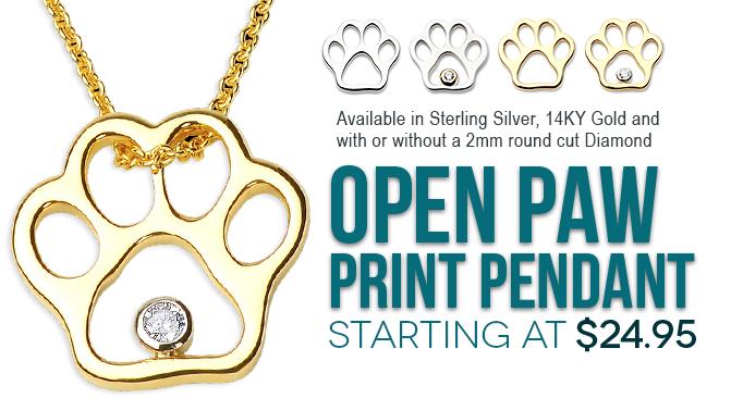 Open Paw Print Pendant